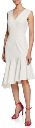 Milly Vanessa Sleeveless Asymmetric Flounce Hem Dress