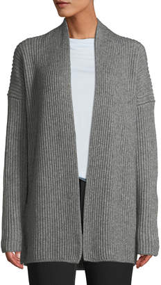 Vince Ribbed Open-Front Yak-Wool Cardigan