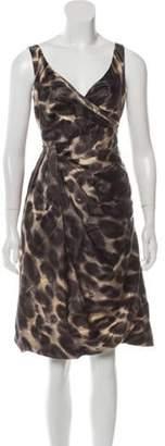 Prada Animal Print Knee-Length Dress Beige Animal Print Knee-Length Dress