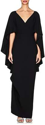 Alberta Ferretti Women's Cape-Sleeve Cady Gown - Black