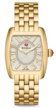 Michele Watches Urban Mini Gold, Diamond Dial Watch