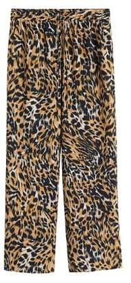 MANGO Leopard flare trousers