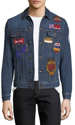Dolce & Gabbana Embroidered Military Denim Jacket with Patches, Dark Blue $1,795 thestylecure.com