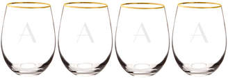 Cathy's Concepts CATHYS CONCEPTS Gold Rim 4-pc. Wine Glass