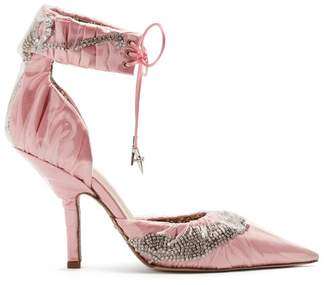 Cesare Paciotti By Midnight - Crystal Embellished Ankle Tie Satin Pumps - Womens - Light Pink