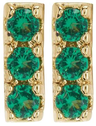 Shashi 18K Yellow Gold Plated Sterling Silver Pave Crystal Bar Stud Earrings