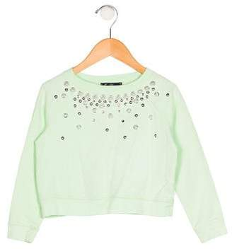Miss Blumarine Girls' Long Sleeves Embellished Sweatshirt