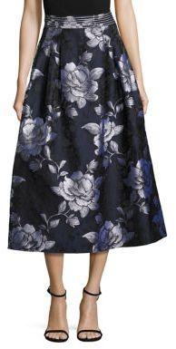 ABS By Allen SchwartzABS Floral Jacquard Midi Skirt