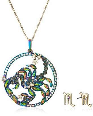 Betsey Johnson Women's Scorpio Zodiac Necklace and Earrings Set