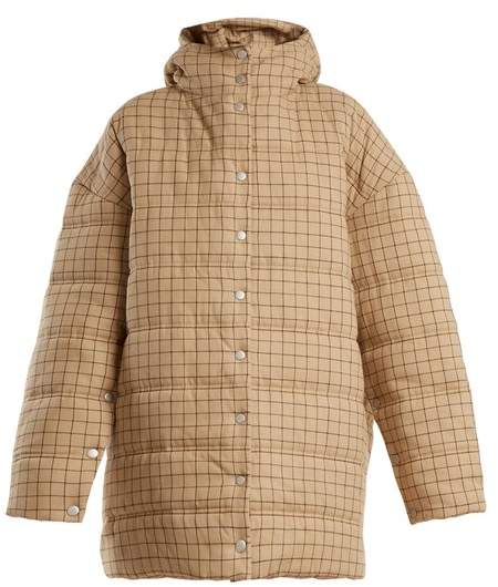 Checked funnel-neck quilted-cotton coat