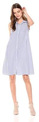 MSK Women's Sleevless Woven Shirt Dress Featuring Pearl Buttons