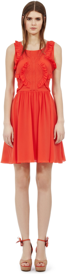 Reiss Loulou RUFFLE DETAIL DRESS
