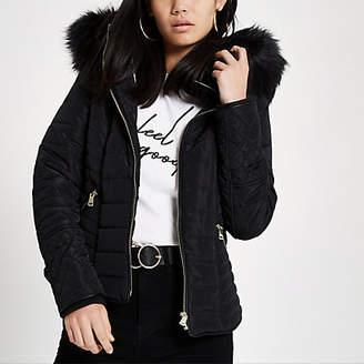 River Island Black faux fur hood long sleeve padded jacket