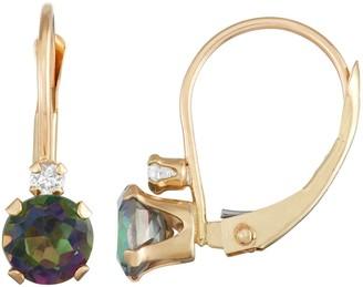 10k Gold Round-Cut Mystic Fire Topaz & White Zircon Leverback Earrings