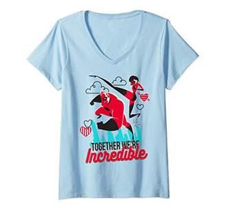 Disney Womens Pixar Incredibles Couple Heart Valentine V-Neck T-Shirt