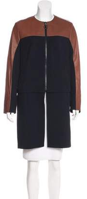 Akris Punto Leather-Trimmed Wool Coat