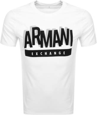 Armani Exchange Crew Neck Logo T Shirt White