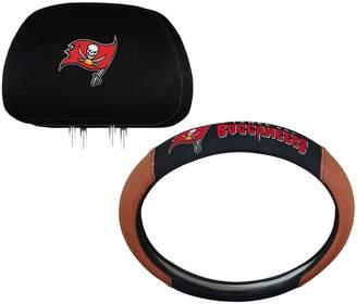 Tampa Bay Buccaneers Steering Wheel & Head Rest Cover Set