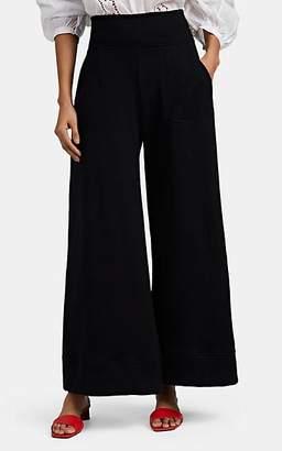 """Warm Women's """"Minimal"""" Cotton Terry Wide-Leg Pants - Black"""