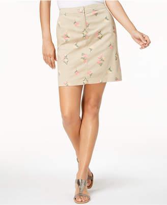 Karen Scott Petite Floral-Print A-Line Skirt, Created for Macy's