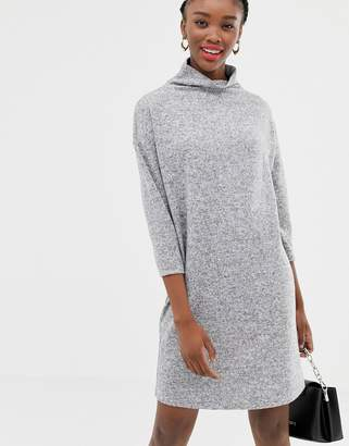 JDY funnel neck mini jumper dress in grey