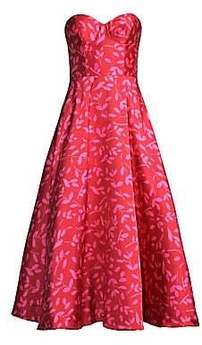 Sachin + Babi Bisate Printed Strapless Bustier Midi Gown