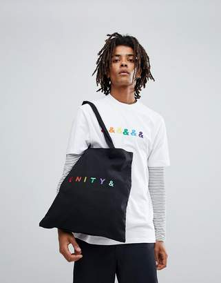 Asos DESIGN x GLAAD tote bag with unity embroidery in black