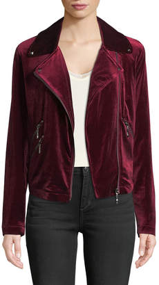 Bagatelle Velvet Biker Jacket, Wine