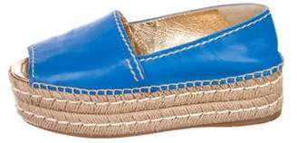 Prada Leather Platform Espadrilles
