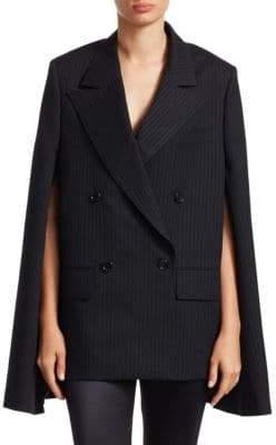 Junya Watanabe Wool Pinstripe Cape-Sleeve Blazer