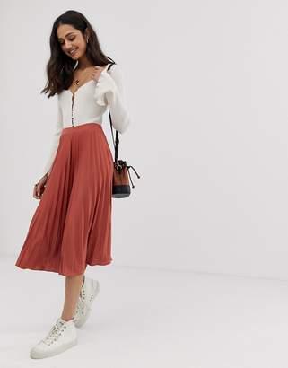 e62385a9b53 Asos Design DESIGN pleated midi skirt in jersey crepe