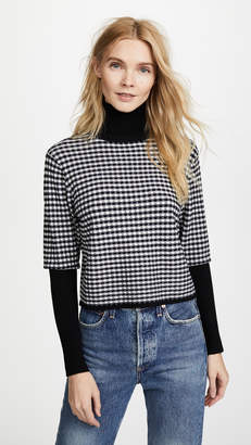Jonathan Simkhai Radical Gingham Cropped Turtleneck