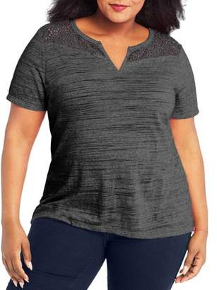 Just My Size Women's Plus Peasant Lace Top