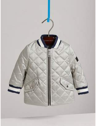 Burberry Diamond Quilted Satin Bomber Jacket