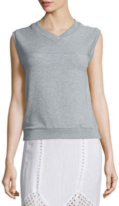 Neiman Marcus Skin Luca Sleeveless V-Neck Pullover, Heather Gray