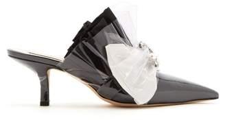 Midnight 00 Ruched Cotton & Pvc Kitten Heel Mules - Womens - Black White