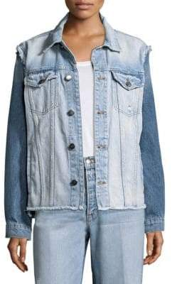 Frame Reconstructed Frayed Denim Jacket