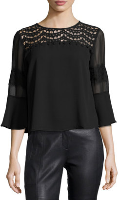 19 Cooper Lace-Yoke Bell-Sleeve Top $49 thestylecure.com