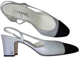 Chanel Slingback Metallic Leather Heels