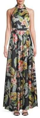 Floral-Print Floor-Length Gown