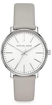 Michael Kors Women's Pyper Three-Hand Leather Strap Watch