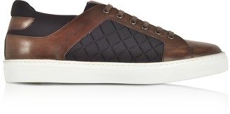 Fratelli Borgioli Coffee Brown Leather and Quilted Nylon Men's Sneakers