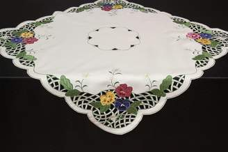 Camilla And Marc Quinnyshop Blue-Yellow-Pink Pansy Embroidery Table overlay 34-inch-by-34-inch/ 85 x 85 cm Polyester