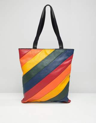 Warehouse Leather Per Bag In Rainbow Stripe