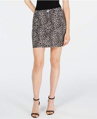INC International Concepts Inc Leopard-Print Denim Mini Skirt