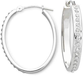 JCPenney FINE JEWELRY Diamond Fascination 14K White Gold Oval Hoop Earrings