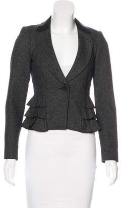 Rebecca Taylor Leather-Trimmed Wool Blazer
