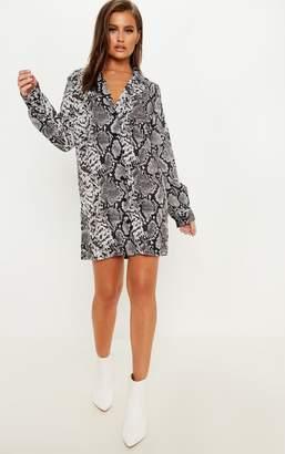 PrettyLittleThing Grey Snake Print Satin Long Sleeve Shirt Dress