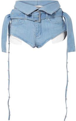 Marques Almeida Marques' Almeida - Belted Fold-over Denim Shorts - Sky blue