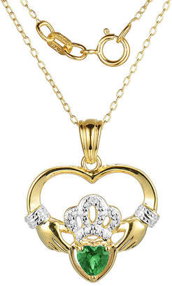 JCPenney FINE JEWELRY Heart-Shaped Genuine Emerald and Diamond-Accent Claddagh Pendant Necklace